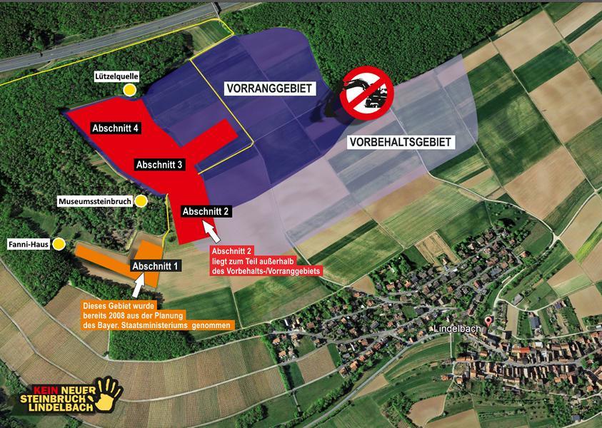 Geplantes Abbaugebiet für den neuen Steinbruch Lindelbach.